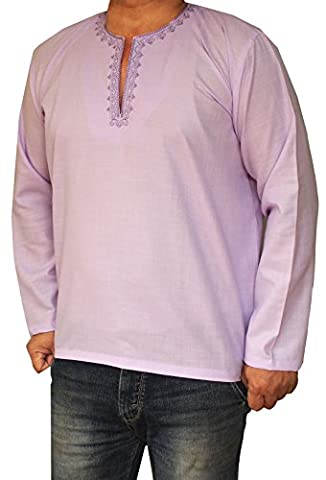Cotton Dress Mens Short Kurta Shirt India Fashion Clothes (Purple, S)