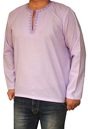 Maple Clothing Shirt Brodé Mens Court Kurta Coton Mode Inde Vêtements Violet