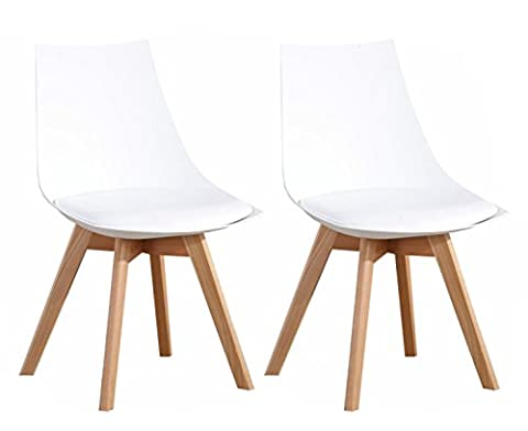 OYE HOYE Lot de 2 Rétro Chaise Salle à Manger haut qualité en PP avec pieds en bois et assise en PU