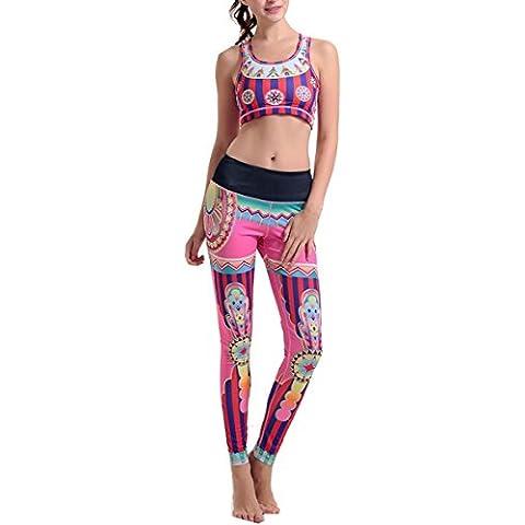 GalaC–Circo Stampa Athletic Yoga Crop top e pantaloni multi color