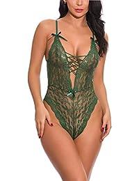 d2a7992705fd FEOYA Lingerie for Women Underwear Teddy One Piece Lace Babydoll Deep V  Neck Lace Mini Bodysuit