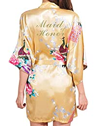 Juleya Mujeres Ropa de Dormir de Satén Floral Pavo Real Kimono Bata de Baño Carta Dama