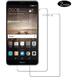 DOSMUNG Verre Trempé pour Huawei Mate 9, Film Protecteur Dureté 9H sans Bulles, Anti Rayures, Anti-Fingerprint Protection Écran pour Huawei Mate 9, [2 Pièces]