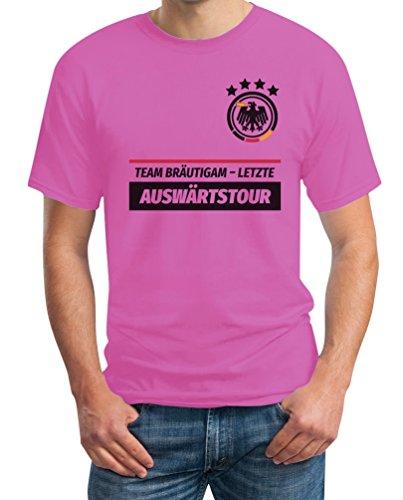 JGA Tshirt Junggesellenabschied Männer Polterabend Team Bräutigam Letzte Auswärtstour T-Shirt Large Rosa