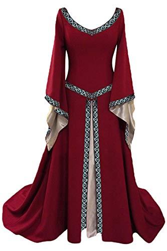 rm Mittelalter Kleid-Gothic Viktorianischen Königin Kostüm mit Schnürung,Jahrgang V-Ausschnitt- Prinzessin Renaissance Bodenlänge,Mehrfarbig ()