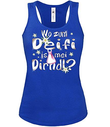love-all-my-shirts Wo zum deifi is MEI Dirnd 1280 Oktoberfest Outfit Artikel Kostüm Tshirt verkleidung Wiesn Frauen Damen Tank Top Blau L