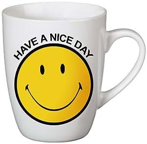 NICI 35882 Tasse en porcelaine avec smiley et inscription «Have a nice day» Jaune