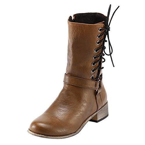MOIKA Damen Boots Frauen-Retro Schuh-Ritter-rutschfeste runde Toe-haltbare mittlere TubeKnig Stiefel(225/36,Gelb)