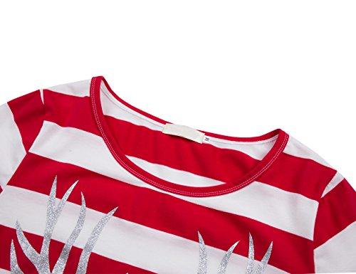 lymanchi Damen Rundhals Langarm Shirt Rentier Streifen Weihnachten Tunika Top Bluse Rot