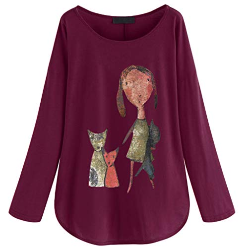LOPILY Langarm Shirts Damen Gedruckte Sweatshirts Basic Einfarbige Oberteile Damen mit O-Neck Long Shirts Damen Sommer Herbst Luftige Lässige Tshirts Damen Große Größen bis Gr.48 (Lila, 46) -