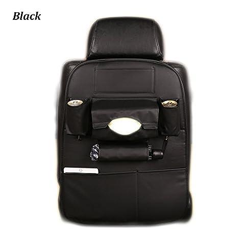 Inebiz Luxe Cuir de voiture Siège arrière Organiseur de voyage Sac de rangement avec porte parapluie et support de tablette