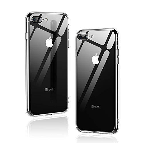 Humixx iPhone 8 Plus Hülle,iPhone 7 Plus Hülle,Hochwertigem 9H Gehärtetem Glas Rückseite mit TPU Rahmen Schutzhülle, Ultra Dünn Handyhülle,Idealer Schutz Hülle für iPhone 7/8 Plus - Klar