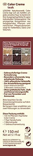 LOGONA Naturkosmetik Coloration Pflanzenhaarfarbe, Color Creme - 230 Teak - Braun, Natürliche & pflegende Haarfärbung (150g) - 2