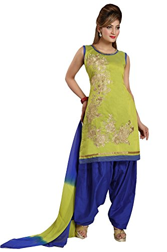 IDHA Chanderi Embroidery Ethnic Stitched Suits for Women - Yellow / Blue