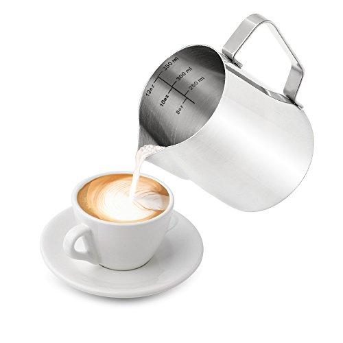 Milchkännchen, Lunaoo Milk Pitcher 350ml / 12 fl.oz. Milchschaumkännchen aus Edelstahl, Milch Aufschäumen für Cappuccino, Latté, Kaffe, Milch usw.