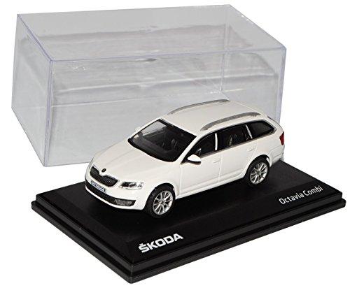 Preisvergleich Produktbild Skoda Octavia III Kombi Weiss Candy Uni Typ 5E Ab 2012 027E 1/43 Abrex Modell Auto mit individiuellem Wunschkennzeichen