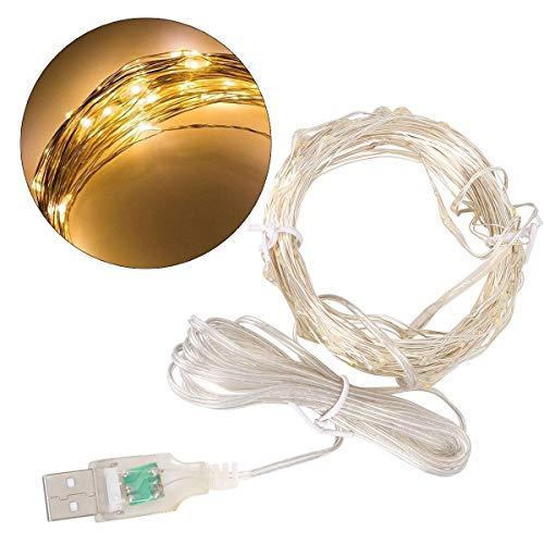 crownroyaljack USB-Kupfer-String mit LEDs, wasserdichte dekorative Lichter für Schlafzimmer, Patio, Hochzeit, Xmas Party, Compact Fluorescent,Warmes Gelb -