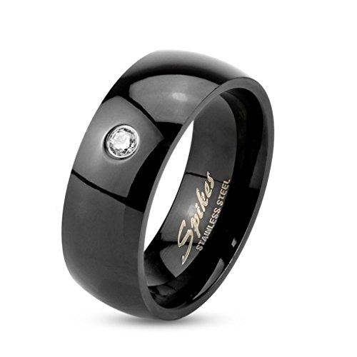 bungsa® Anello Cristallo Nero Acciaio Inossidabile Classico Donna & uomo, 49-70(anello gioielli anello zirconi Partner anelli fidanzamento anelli TRAURINGE anello da donna acciaio chirurgico), acciaio inossidabile, 70 (22.3), colore: black, cod. 2522