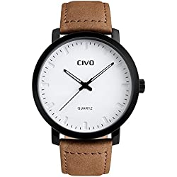 CIVO Men's Brown Leather Band Analogue Quartz Wrist Watch Mens 30M Waterproof Luxury Classic Business Casual Simple Design White Dial Fashion Wristwatch Unique Scratch Resistant Dress Watches for Men