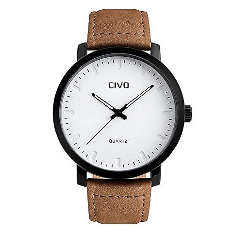 CIVO Herren Braun Lederband Analog Quartz Uhren Luxus Elegant Wasserdichte Armbanduhr Business Uhr Einfaches Zeitloses Design Klassisch Casual Kleid Sport Armbanduhren Weiß Dial
