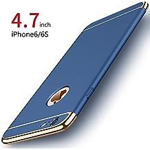Funda iPhone 6/6s, PRO-ELEC Carcasa iPhone 6 / 6s con [ Protector de Pantalla de Vidrio Templado ] 3 en 1 Desmontable Ultra-Delgado Anti-Arañazos iPhone 6 Funda Protectora - 4.7 pulgada - Azul Marino