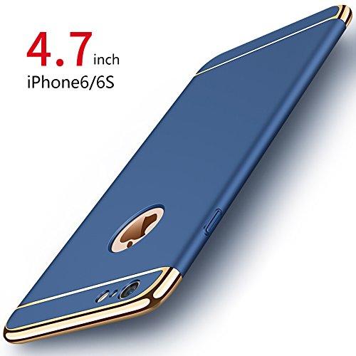 """iPhone 6 Coque / iPhone 6S Coque, PRO-ELEC [Avec Verre Trempé] Coque Très mince 3 en 1 Non Slip Surface Antichoc & Electro Placage Texture Protector pour iPhone 6 iPhone 6S (4.7"""") - Bleu Marine"""
