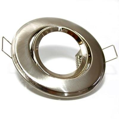 LED Einbaurahmen schwenkbar rund Stahl gebürstet satiniert für GU10, GU5.3, MR16, Halogenlampe als Deckenlampe Einbauspot von SN-Import auf Lampenhans.de