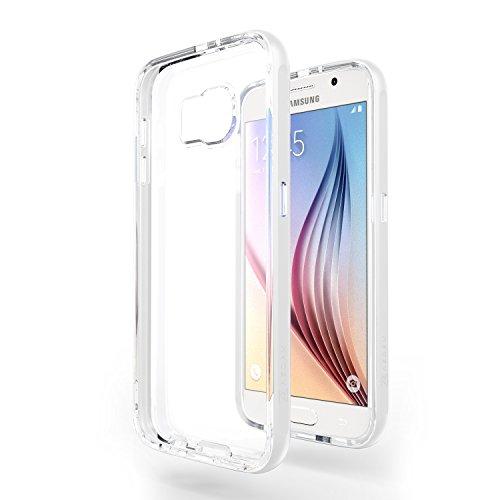 Azorm Handyhülle für Samsung Galaxy S6, Hybrid Edition Smartphone Hülle, Bumper Schutzhülle Anti-Rutsch und Kratzfest, Silikon Rückseite Transparent - Weiss (Metalleffekt)