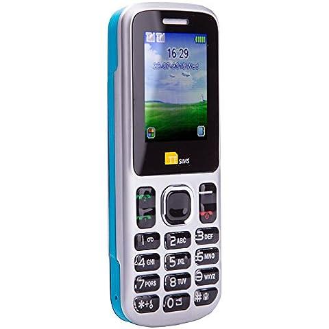 TTsims TT130 - Teléfono móvil (Dual SIM, cámara, Bluetooth, función linterna, radio MP3/MP4, ranura para tarjeta de memoria) color azul