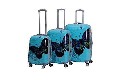 HOT CASE Reisekoffer Trolley Hartschalen Polycarbonat mit Zahlenschloss und 4-Zwillingsrollen 20' 24' 28' 3er Set (24'/M, Schmetterling blau)