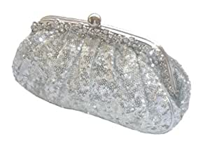 Silver Evening Hand Bag Purse Sequin Evening Bag Clutch Purse Party Wedding Amazon.co.uk Luggage