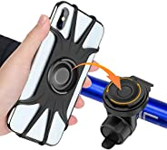 Bike Phone Mount,【360° Rotation】,2020 Upgrade Adjustable Silicone Bicycle & Motorcycle Phone Holder,Fit Fo