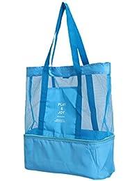 2391e7e2059f8 MagiDeal Premium Mesh Strandtasche mit Wasserdichter Kühlfach Badetasche  Netzstrandtasche Tragetasche Picknicktasche…