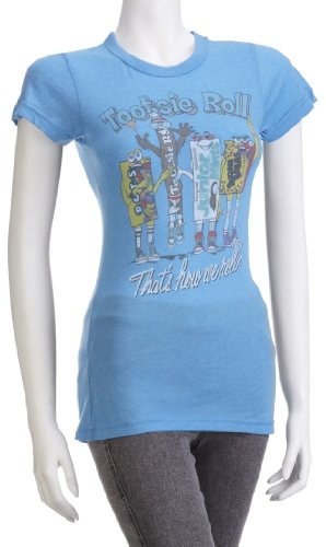junk-food-womens-tootsie-roll-how-we-roll-t-shirt-cool-blue-tr107-1251-x-large