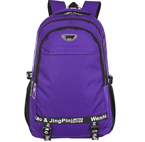 Super Modern - Unisex-Wanderrucksack, Schulranzen, wasserdichtes Nylon, Sportrucksack, Laptop-Tasche, Reiserucksack für Damen, Herren und Kinder. Größe L violett
