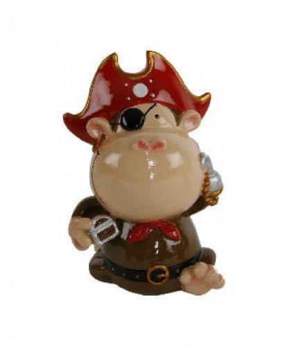 Spardose Pirat (Affe, roter Hut) - Kinderspardose / Sparschwein