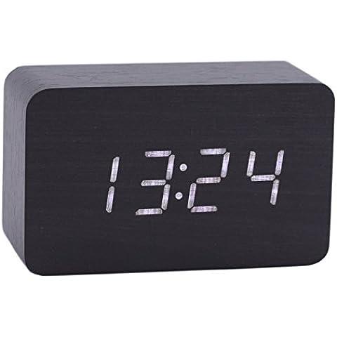 Konigswerk - Reloj digital de madera con alarma e iluminación LED, muestra calendario y temperatura, para despacho, serie moderna, rectangular y pequeño - Blanco y