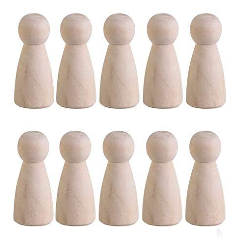 bbildung Kegel Holz Puppen Familie Figuren Spielfiguren für Malerei Crafting Puppen Hochzeit Geburtstag Dekoration ()