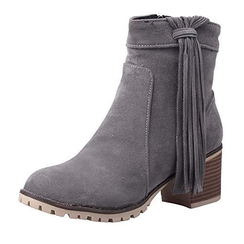 Riou Böhmische Damen Stiefeletten Quaste Blockabsatz Reißverschluss Elegant Freizeit Kurze Stiefel Damenschuhe (41 EU, Grau B)