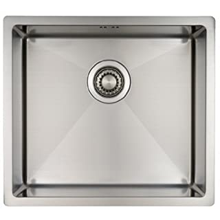 Kitchen Sink Mizzo Design 45-40 - One/Single Bowl Square Stainless Steel Kitchen Sink- For both undermount and flushmount installation - Satin finish - R 10mm