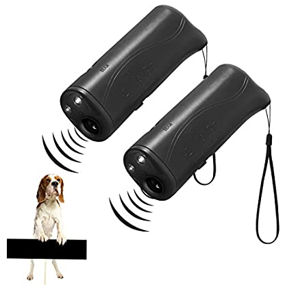 WIRSV 2pack Dog Repeller,3 in 1 Anti Barking Stop Bark Ultrasonic Pet Dog Repeller Training Device Trainer With LED (2 X… 1