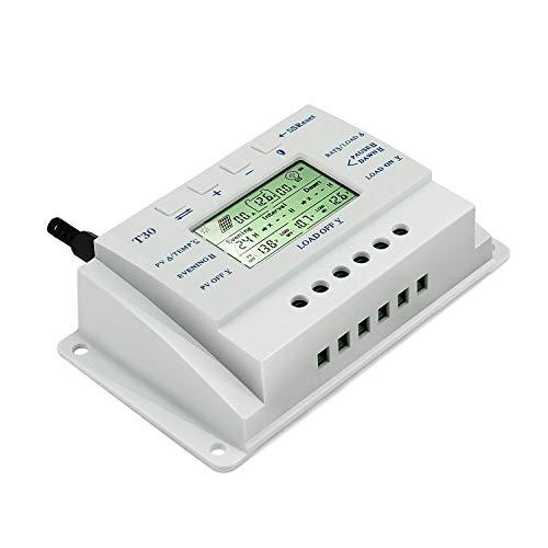 OOYCYOO 30A MPPT Solar Laderegler automatische Erkennung 12V/24V mit LCD-Display Display (T30)