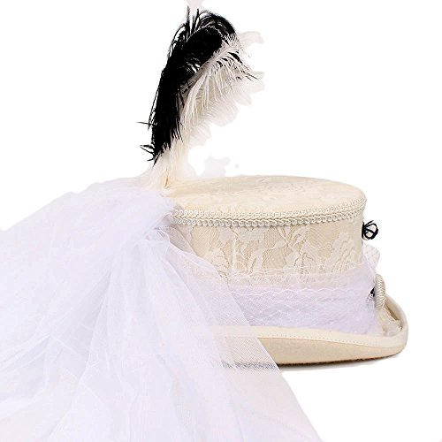 ZHLL- Gorras Sombrero Blanco de la Boda del cordón de Marfil gótico Victoriano Sombreros Superiores del Sombrero de Steampunk Deportes y Aire Libre (Color : 1, tamaño : 61cm)