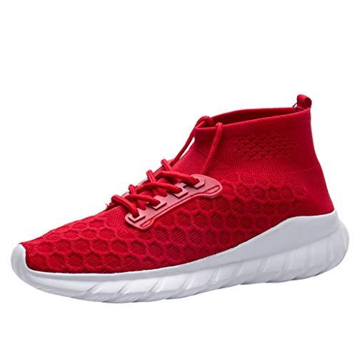 iFRich Hohe Hilfe Laufschuhe Herren, Männer Weben Sportschuhe Socken Schuhe Weiche Sohle Turnschuhe 2020 Sommer Neue Sneaker Mode Rund Zeh Flach Freizeitschuhe (EU:40/CN:41, Rot B)