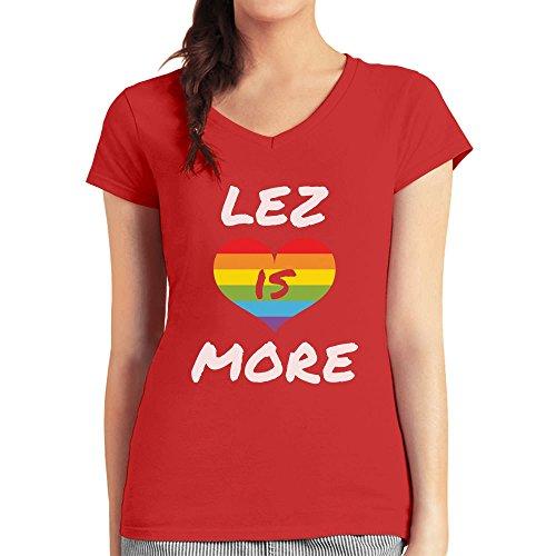 Lez is More Regenbogen Design mit Herz Präsentidee Damen T-Shirt V-Ausschnitt Rot
