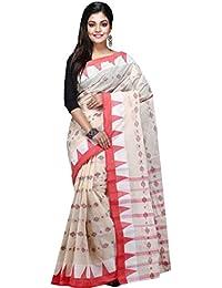 Badal Textile Handloom Cotton Tant Saree, Traditional Bengali Wear (White & Red)