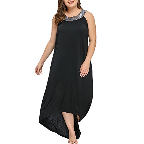 Übergröße Kleid Kolylong® Damen Elegant Pailletten Ärmellose Kleid -