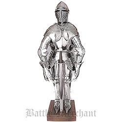 Battle Merchant Miniatura Armadura con Soporte y Espada Deko Armadura Tanque Placa Larp Vikingo Medieval