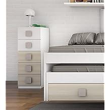 Sinfonier cómoda de 5 cajones blanco y haya para dormitorio juvenil. 102,5x45x35cm