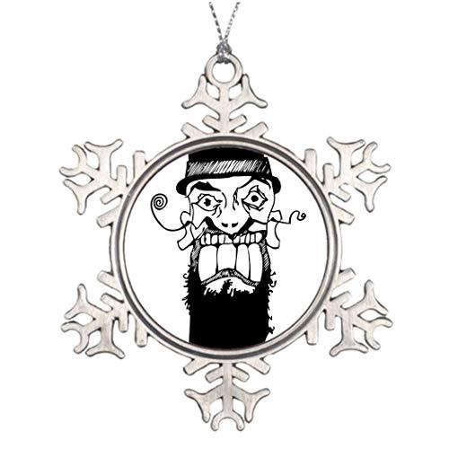 Vaudeville Curly Mustachioed Bösewicht The Shop Weihnachtsdekoration Schneeflocke Ornament Einweihungsgeschenk für Mann und Frauen
